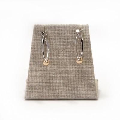 Ann Kearney - EA 280 short Silver Sliver Earrings with 14k gold ball