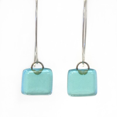 Charlotte Potter - Bombay Sapphire Fused Glass Earrings