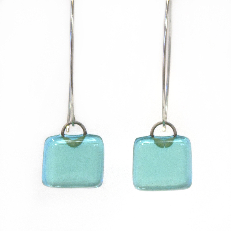 Charlotte Potter - Bombay Sapphire Fused Glass Earrings