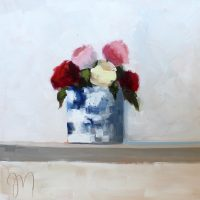 French Blue Vase with Garden Roses