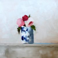 French Blue Vase with Reds & Pink