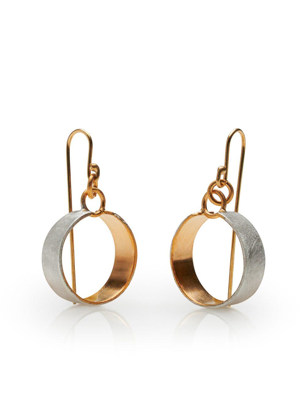 Jon Black - Silver Gold Circle Earrings
