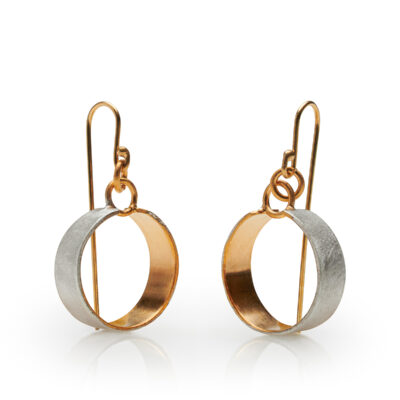 Jon Black - Silver Gold Circle Earrings
