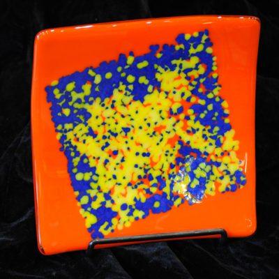 Marty Podolsky - Orange & Blue Square Plate