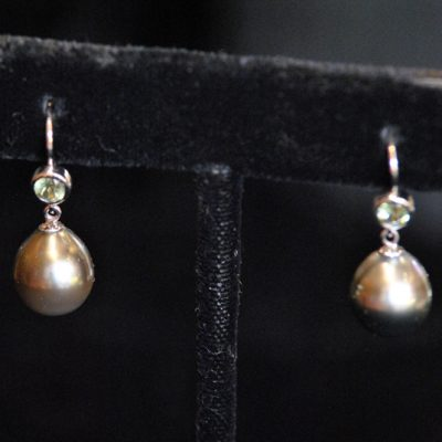 Sally Horner O'Neill - Tahitian Pearl & Demontoid Garnet Earrings