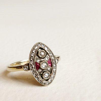18K Gold, Diamonds, Rubies, Repro Edward Ring
