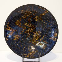 Black Strip Bowl with Orange & Blue