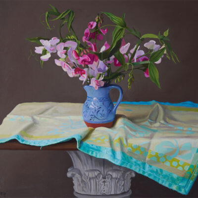 Blue Jug with Pea Flowers