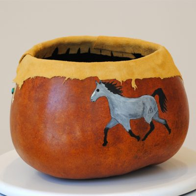 Horse Gourd with Deer Skin