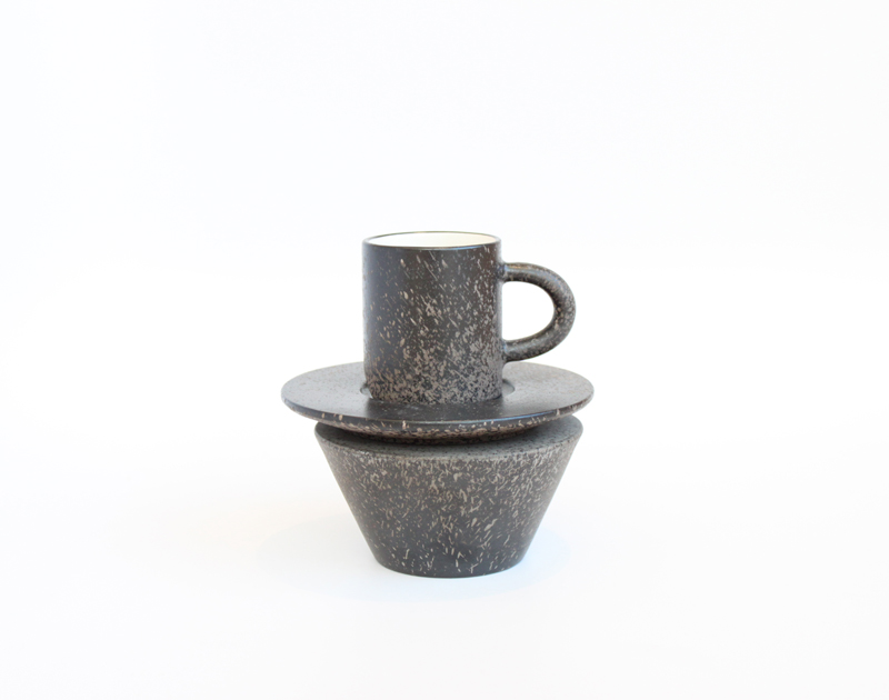 Wedge Cup with Stand & Saucer