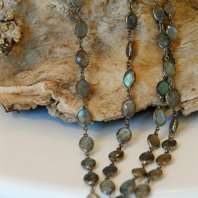 Labradorite & Sterling 36in. chain