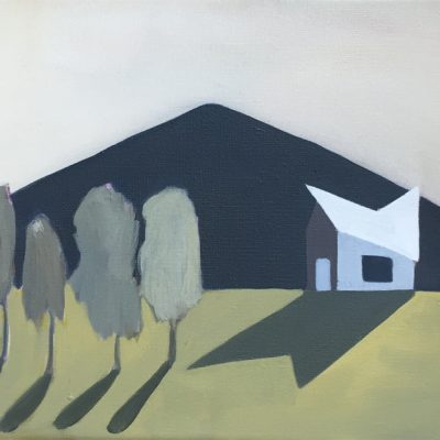 House with Four Trees and Mountain