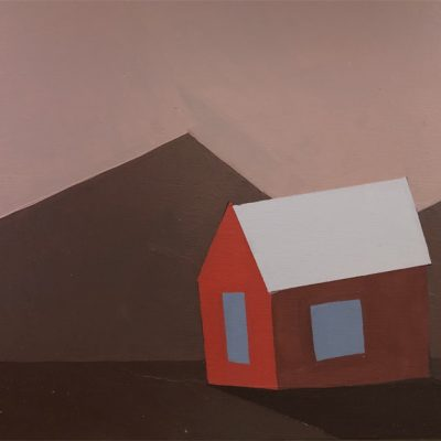 Red Barn with Mountain Peak
