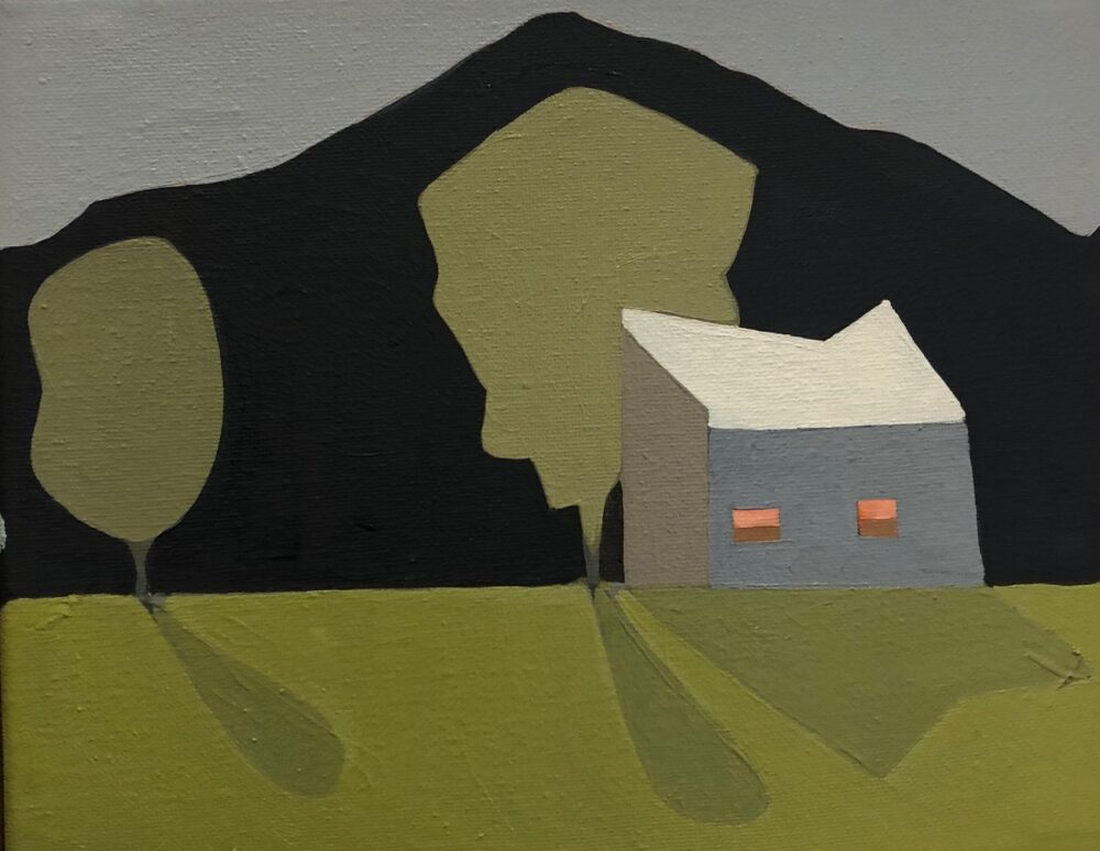 Sage Tucker Ketcham - Barn with Two Windows and Two Trees
