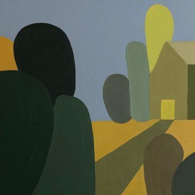Sage Tucker Ketcham - House on Horizon with Many Hedges