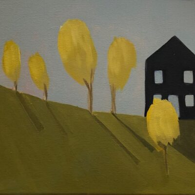 Sage Tucker Ketcham - House on the Hill with Five Trees
