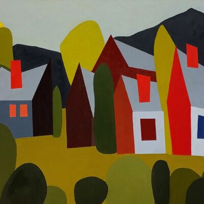 Sage Tucker-Ketchum - Three Houses Two Barns and Nineteen Hedges with Mountain