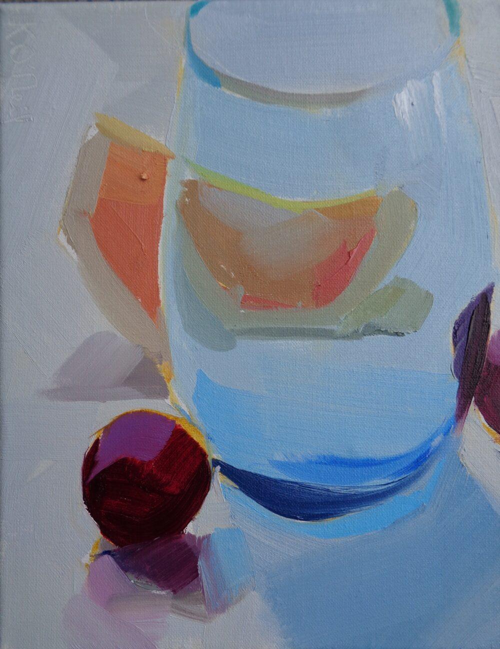 Karen O'Neil - Blue Glass and Cherries