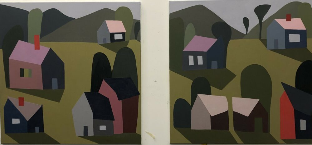Sage Tucker-Ketcham - Village with Hills and Houses (diptych)
