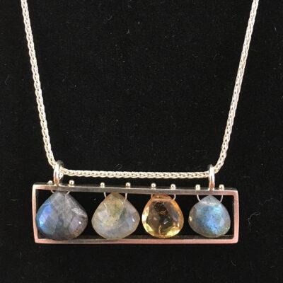 Ashka Dymel - Horizontal Necklace with Four Briolettes