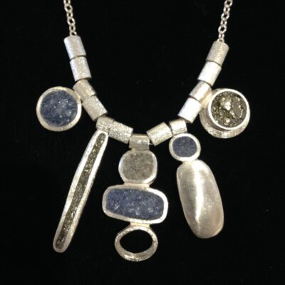 David Urso - Five Charm Necklace Slate SS