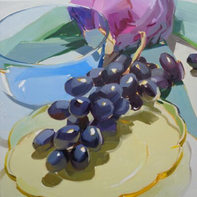 Karen O'Neil - Kitchen Still Life Series #18, Black Grapes