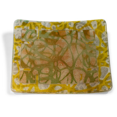 Rochelle Zabarkes - Square Curled Edge Green Plate