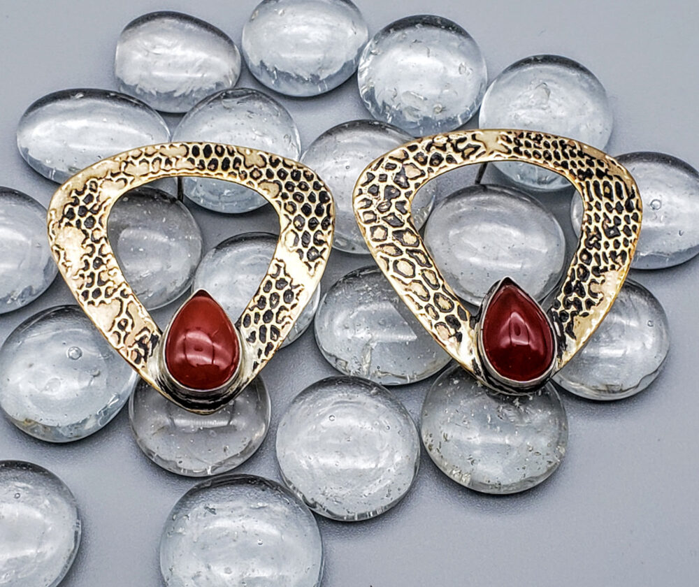 Judith Giusto - Brass Etched 3 Sided Earrings with Carnelians on Glass