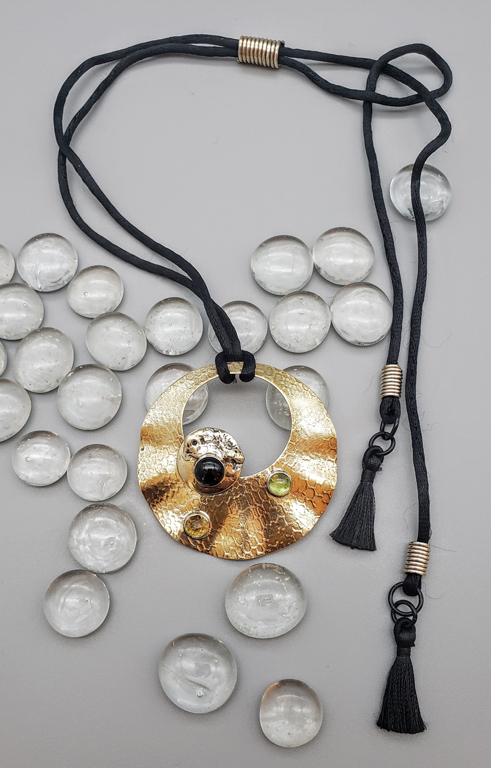 Judith Giusto - Brass Etched Pendent w-Silver Disk & 3 Cabochons on Satin Cord