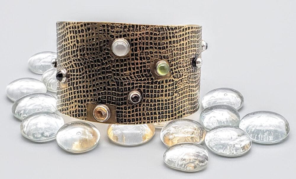 Judith Giusto - Brass Linen Patterned Brass Cuff