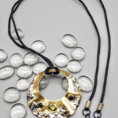 Judith Giusto - Brass Pendent w- Molten Silver & 3 Cabochons on Glass IV