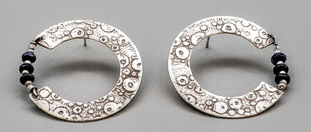 Judith Giusto - C Bubbles, Silver, Lapis, Post Earrings