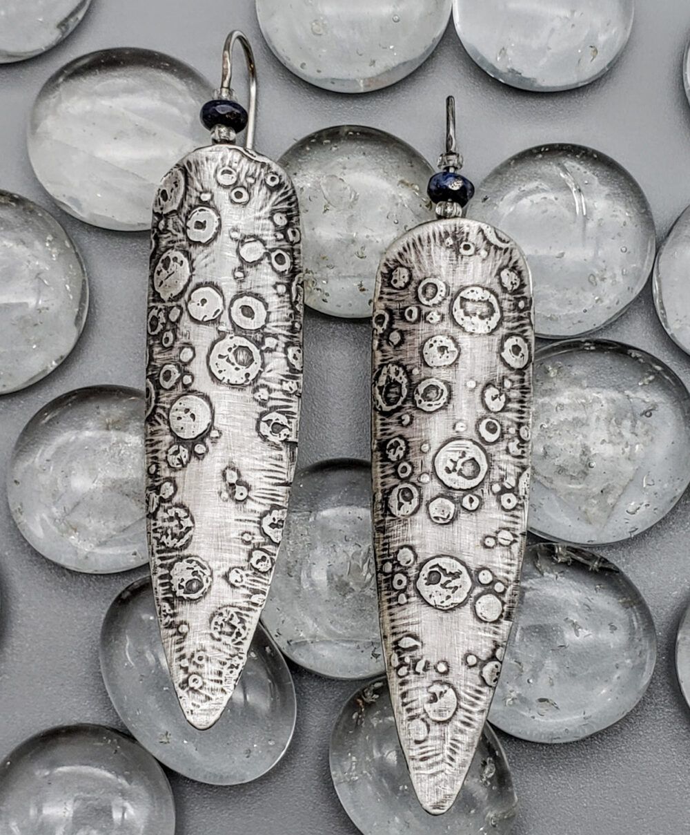 Judith Giusto - Ruby Etched Silver Earrings w- Lapis