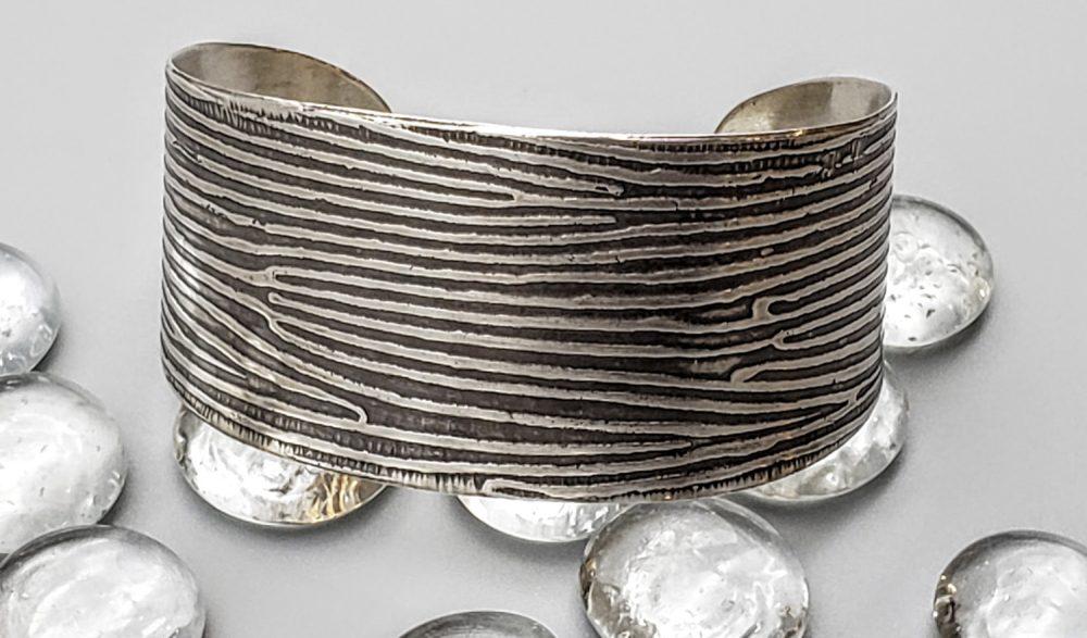 Judith Giusto - Silver Etched Cuff Wide I