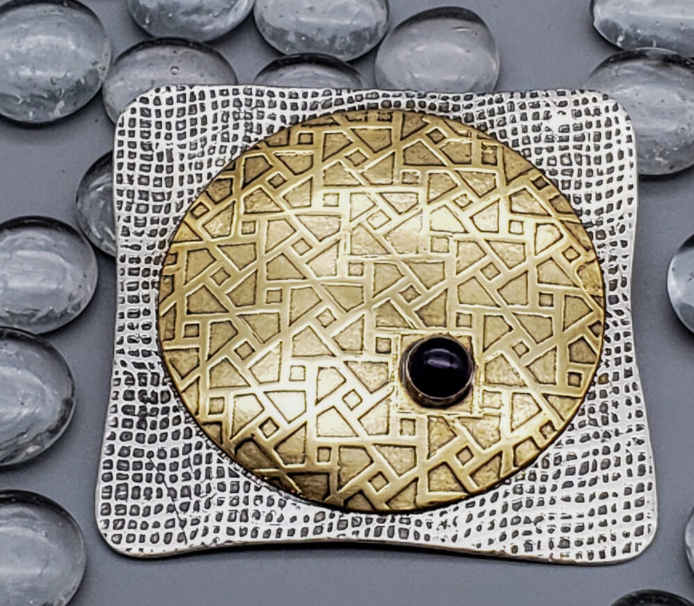 Judith Giusto - Square Brass & Silver Etched Brooch w- Amethyst