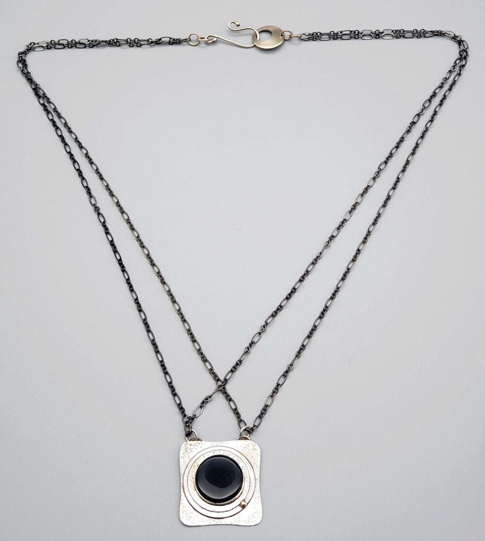 Judith Giusto - Square Silver Necklace w- Black Onyx Round Flat Stone