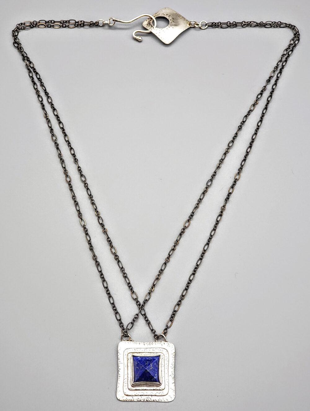Judith Giusto - Square Silver Necklace w- Lapis Square Stone