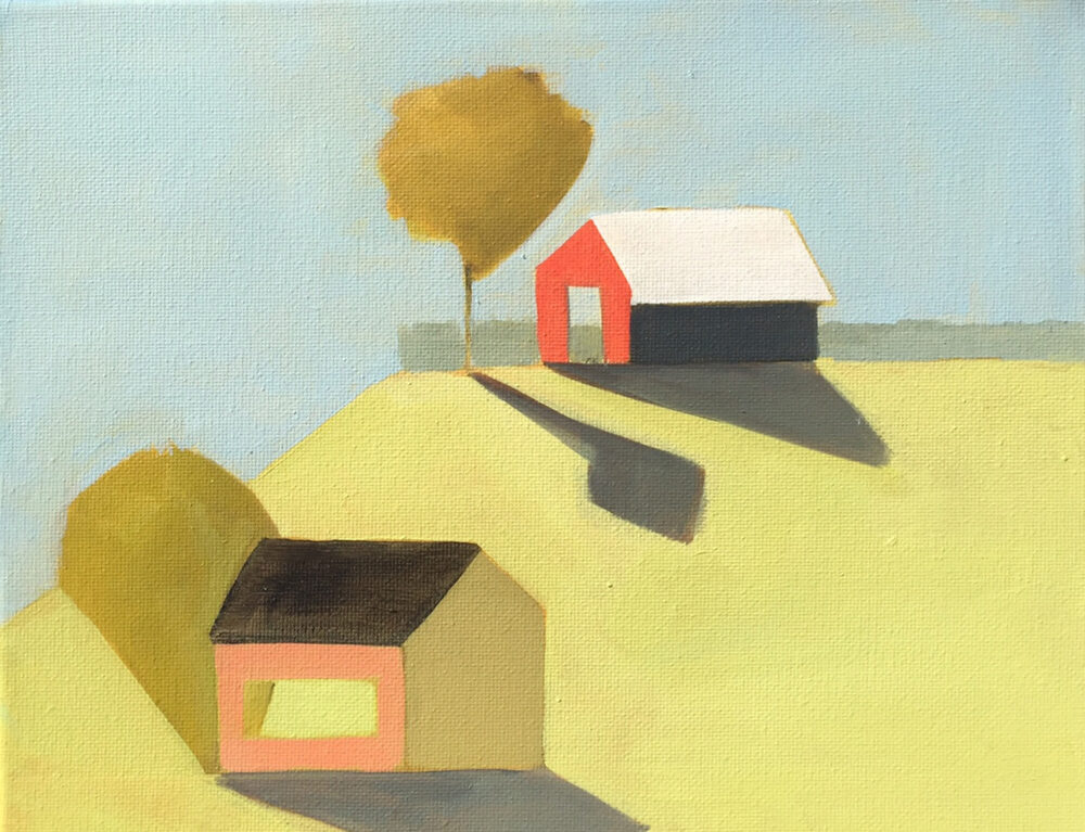 Sage Tucker Ketchum - Two Barns, One on the Hill and One Tree