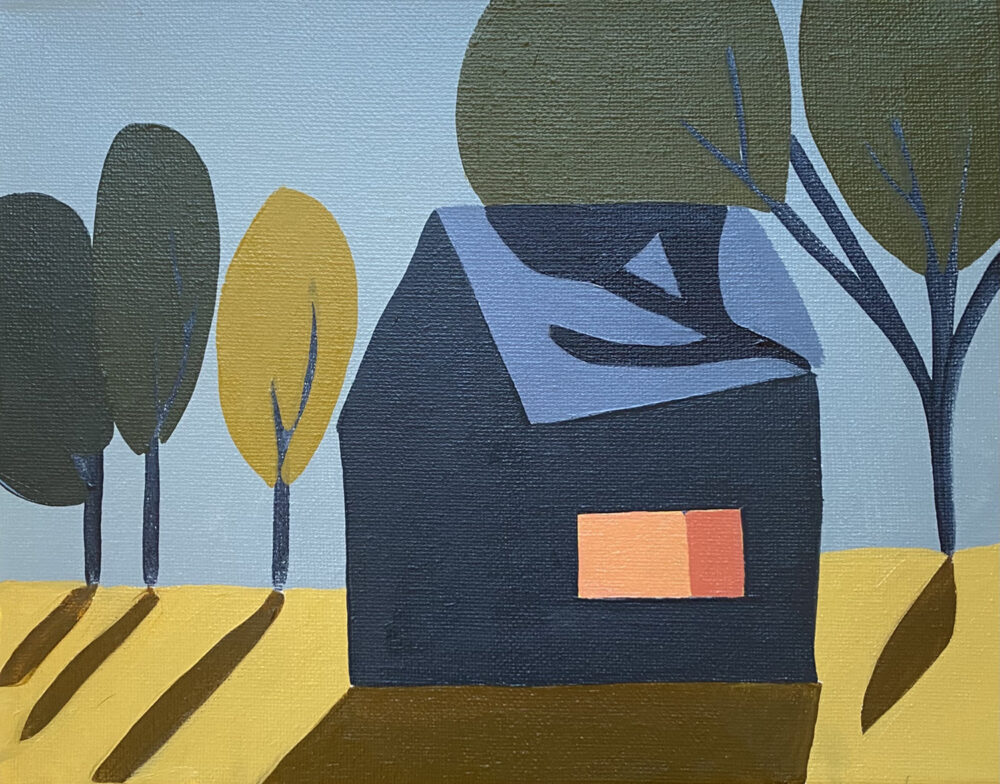 Sage Tucker-Ketcham -Blue House with Window and Four Trees