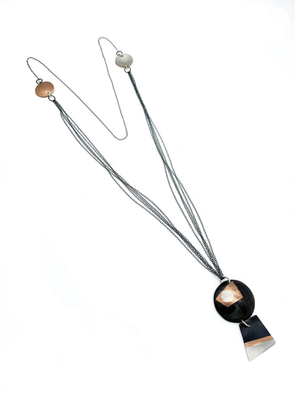 Anna Caraco - Abstract Marriage Copper Silver Necklace