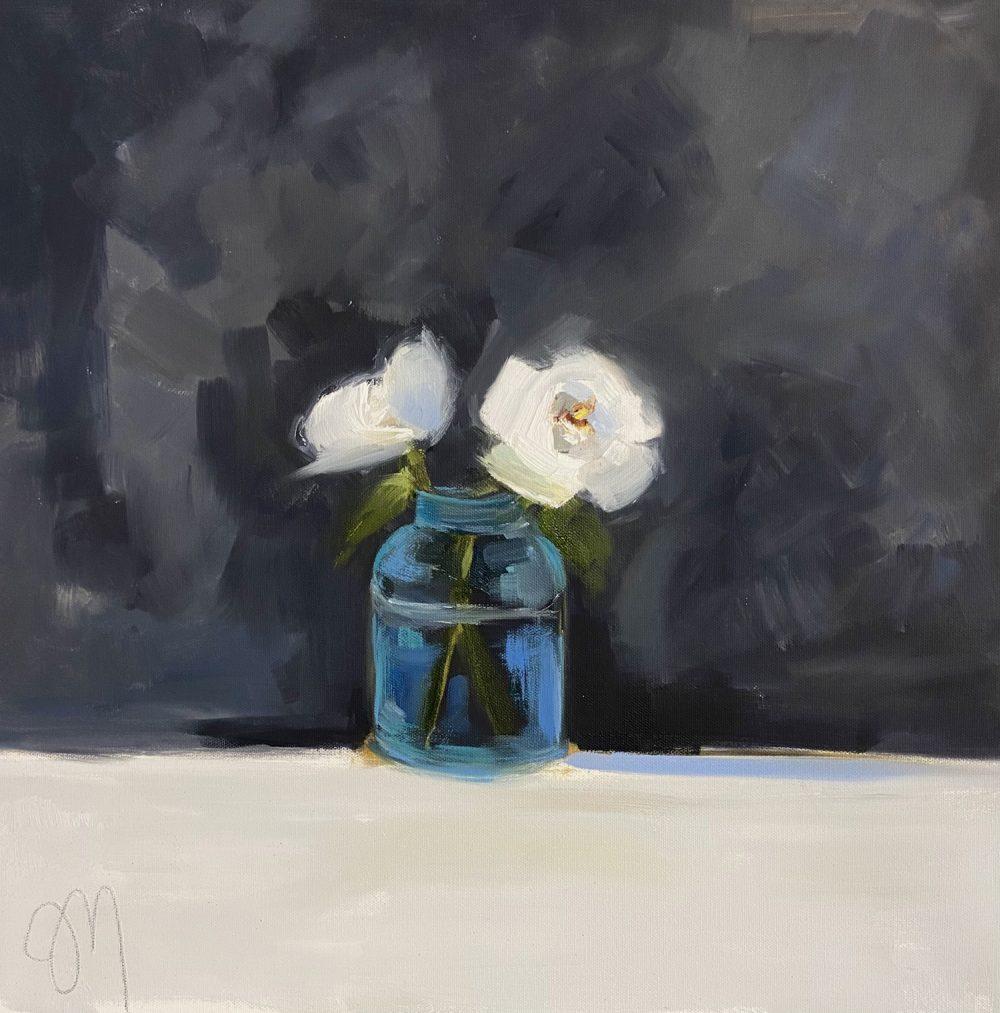 Jill Matthews - Camelias, Blue Glass