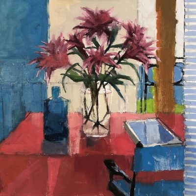 Kim Alemian - Spiked Lilies withStriped Curtain
