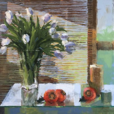Kim Alemian - White Tulips and Bamboo Shade