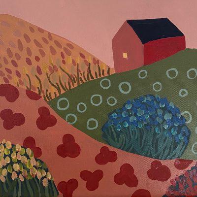 Sage Tucker-Ketcham - Barn, Three Hills, Three Flower Bushes