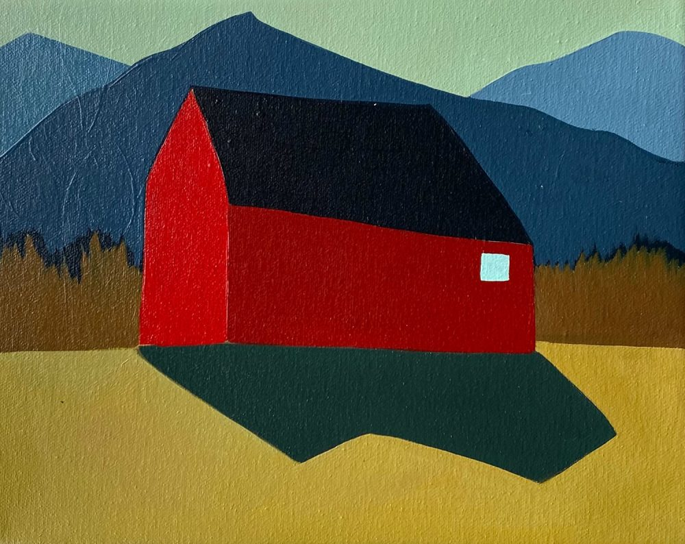Sage Tucker-Ketcham - Barn with Mountains and Small Window
