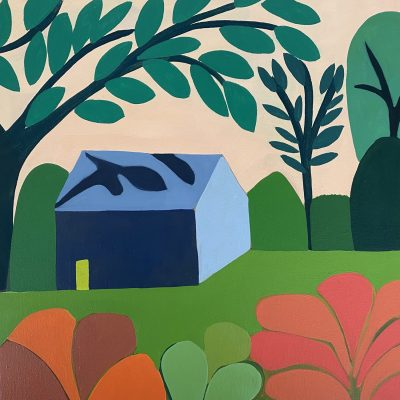 Sage Tucker-Ketcham - Blue House with Large Tree, Small Tree and Two Orange Shrubs