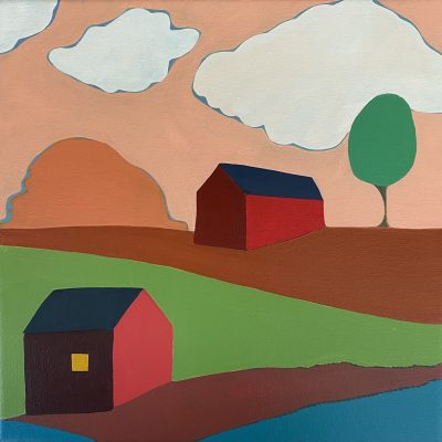 Sage Tucker-Ketcham - Red Barn and Red House with a Tree and River