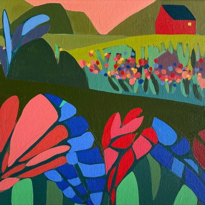 Sage Tucker-Ketcham - Red Barn with Large Red and BLue Flowers