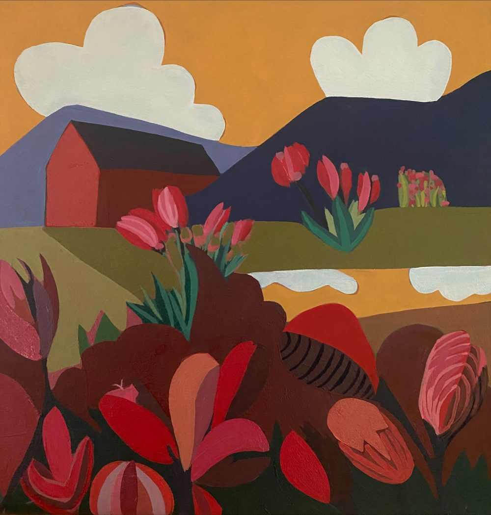 Sage Tucker-Ketcham - Red Barn with Red and Pink Flowers